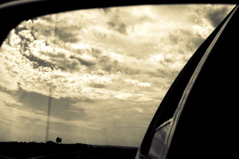 © Road to Orange through rearview mirror